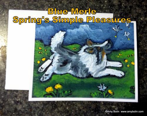 """Spring's Simple Pleasures"" Blue Merle Shetland Sheepdog Note Cards"