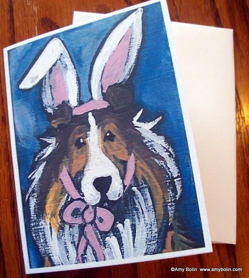 """""""Easter Sheltie"""" Sable Shetland Sheepdog Note Cards"""
