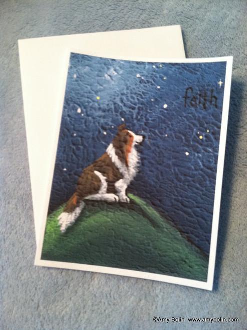 """Faith"" Sable Shetland Sheepdog Note Cards"