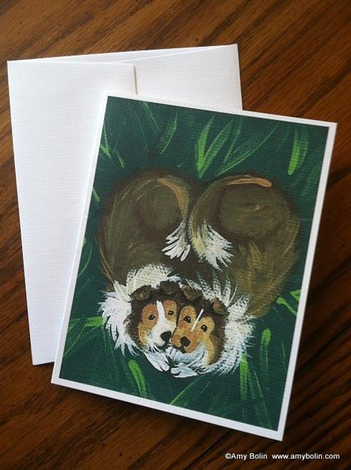 """""""Little Sweethearts"""" Sable Shetland Sheepdog Note Cards"""