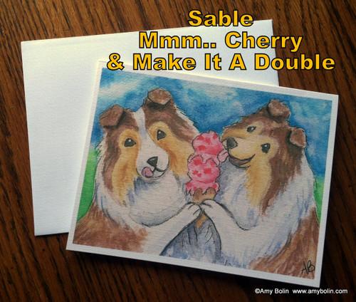 """Make Mine Cherry"" Sable Shetland Sheepdog Note Cards"