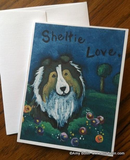 """Sheltie Love"" Sable Shetland Sheepdog Note Cards"
