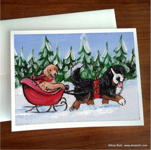 """Christmas: A Wintry Ride"" Bernese Mountain Dog, Golden Retriever Note Cards"