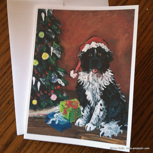 """Christmas: Merry Christmas"" Landseer Newfoundland Note Cards"