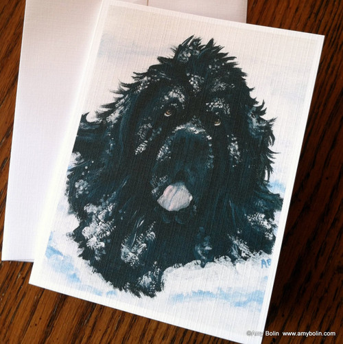 """Scarlet's Snow Day"" Black Newfoundland Note Cards"