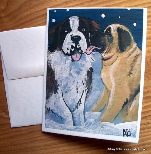 """Little Kiss"" Mastiff, Saint Bernard Note Cards"