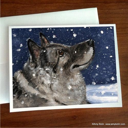 """Senja's Snow Day"" Norwegian Elkhound Note Cards"