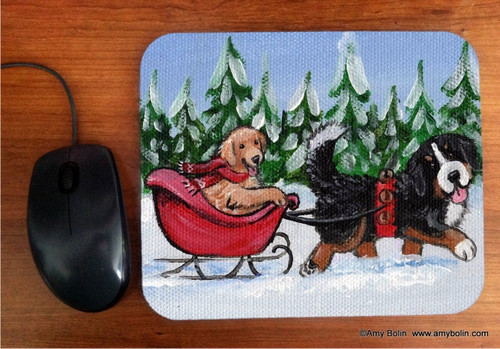 """A Wintry Ride"" Bernese Mountain Dog & Golden Retriever Mouse Pad"