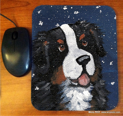 """""""Counting Snowflakes"""" Bernese Mountain Dog Mouse Pad"""