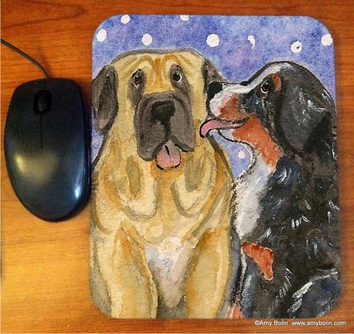 MOUSE PAD · LITTLE KISS · BERNESE MOUNTAIN DOG, MASTIFF · AMY BOLIN