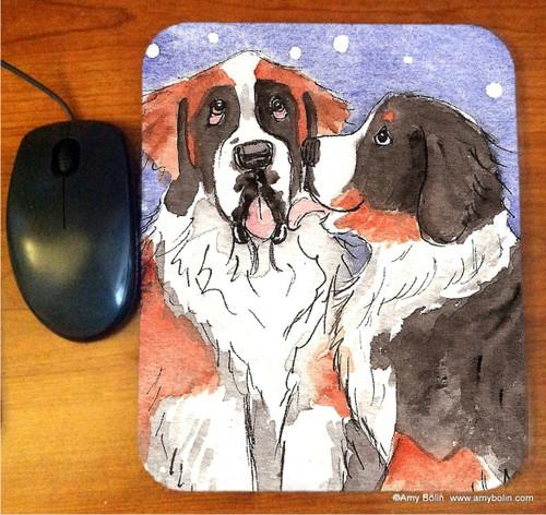 """""""Little Kiss"""" Bernese Mountain Dog & Saint Bernard Mouse Pad"""