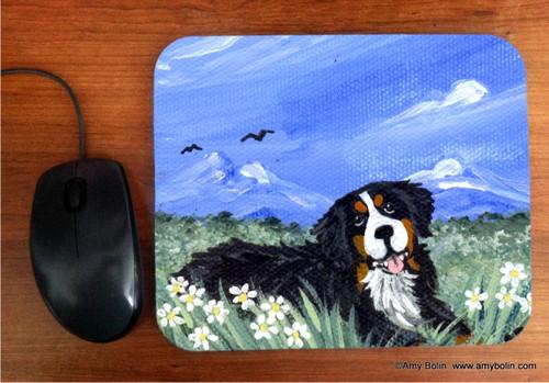 """Mountain Home"" Bernese Mountain Dog Mouse Pad"