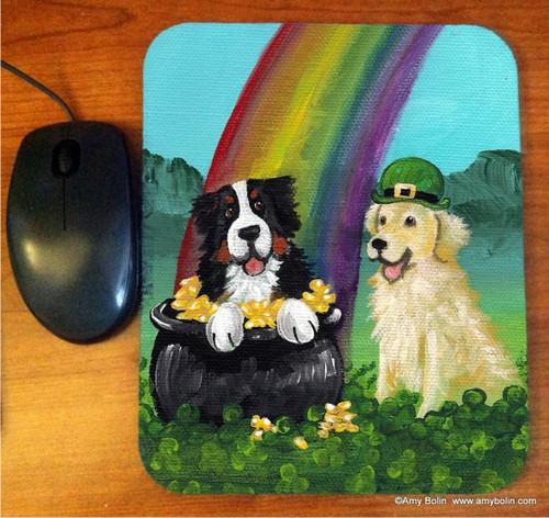 """""""My Pot O' Gold"""" Bernese Mountain Dog & Golden Retriever Mouse Pad"""