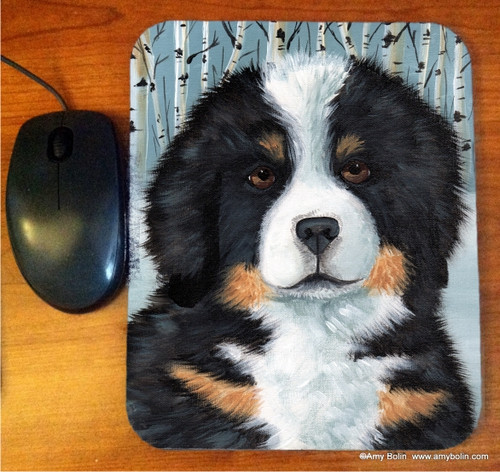 """""""Puppy Eyes"""" Bernese Mountain Dog Mouse Pad"""