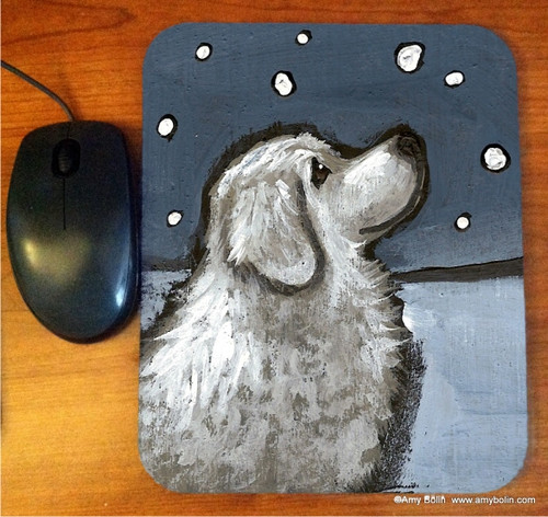 """""""Counting Snowflakes"""" Great Pyrenees Mouse Pad"""