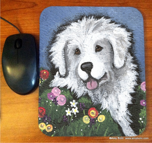 """""""Mom's Favorite Flower"""" Great Pyrenees Mouse Pad"""
