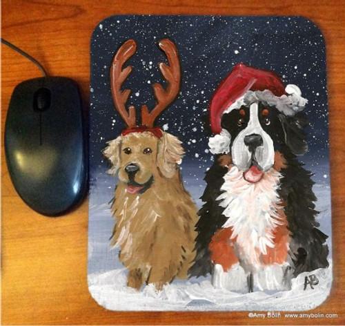 """Christmas Buddies"" Bernese Mountain Dog & Golden Retriever Mouse Pad"