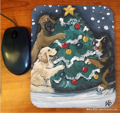 """""""Christmas Together"""" Bernese Mountain Dog & Golden Retriever Mouse Pad"""