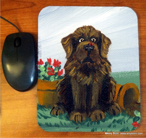 """A LIttle Visitor"" Brown Newfoundland Mouse Pad"
