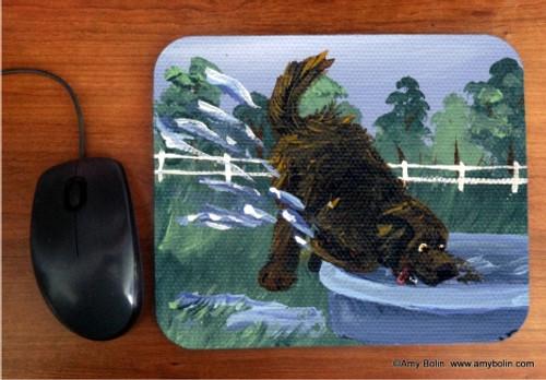 """Diggin' It"" Brown Newfoundland Mouse Pad"