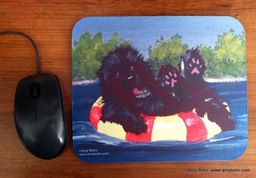 """""""Dog Days"""" Black Newfoundland Mouse Pad"""