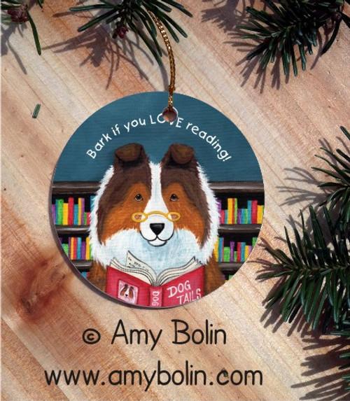"""Dog Tails Vol 3"" Sable Shetland Sheepdog Ceramic Ornament Round"