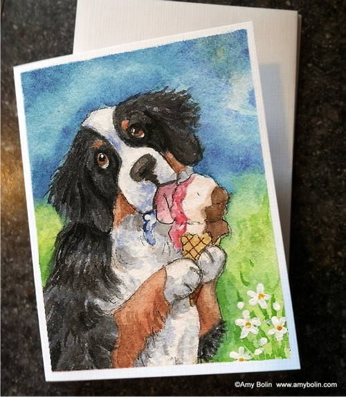 """Make Mine Neapolitan"" Bernese Mountain Dog Note Cards"
