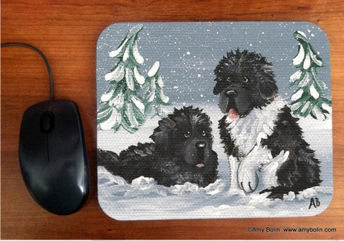 MOUSE PAD · WINTER BUDDIES ·BLACK AND LANDSEER  NEWFOUNDLAND · AMY BOLIN