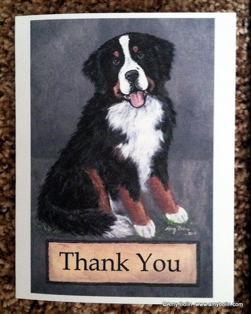 """Merlin Thank You"" Bernese Mountain Dog Note Cards"