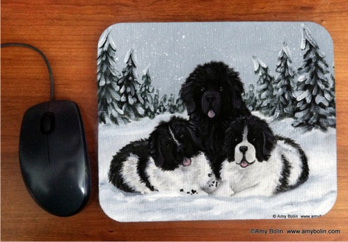 MOUSE PAD · WINTER BUDDIES 2 ·BLACK AND LANDSEER  NEWFOUNDLAND · AMY BOLIN