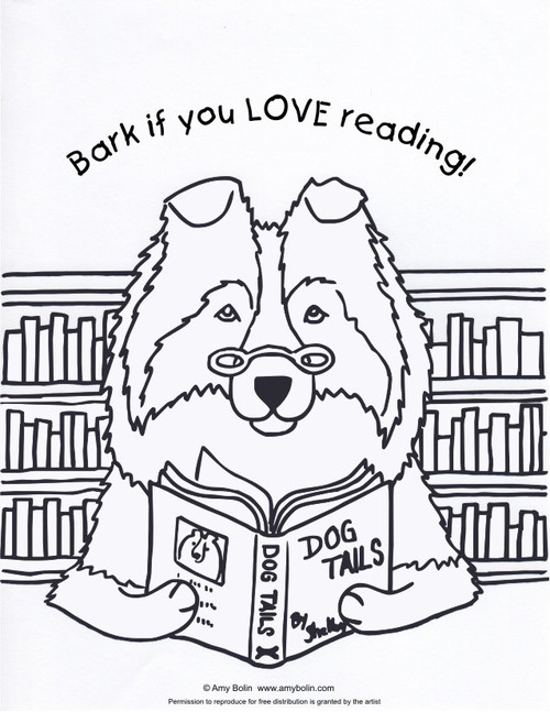 "FREE COLORING SHEET DOWNLOAD · ""Dog Tails Vol 3"" BARK IF YOU LOVE READING · SHELTIE · AMY BOLIN"