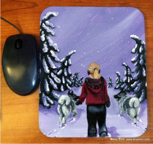 """A Snowy Walk"" Norwegian Elkhound Mouse Pad"