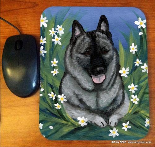 """Daisies 1"" Norwegian Elkhound Mouse Pad"