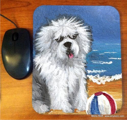 """Beach Bum"" Old English Sheepdog Mouse Pad"