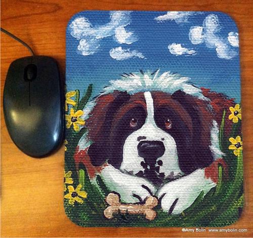 """Doggie Daydreams"" Saint Bernard Mouse Pad"