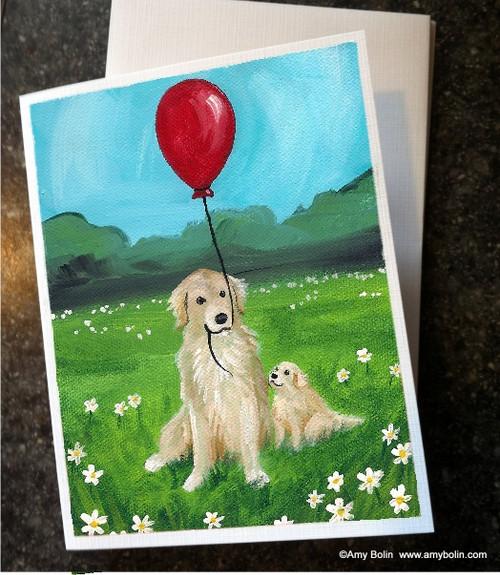 """""""A Golden Afternoon"""" Golden Retriever Note Cards"""