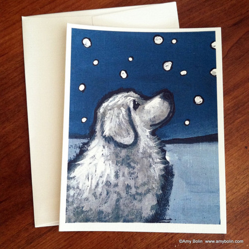 """""""Counting Snowflakes"""" Great Pyrenees Note Cards"""