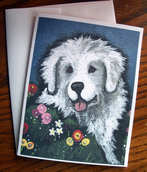 """""""Mom's Favorite Flower"""" Great Pyrenees Note Cards"""
