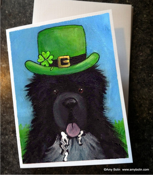 """St. Patrick's Day: A Big, Wet Irish Kiss"" Irish Spotted Newfoundland Note Cards"