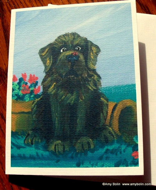 """A Little Visitor"" Brown Newfoundland Note Cards"