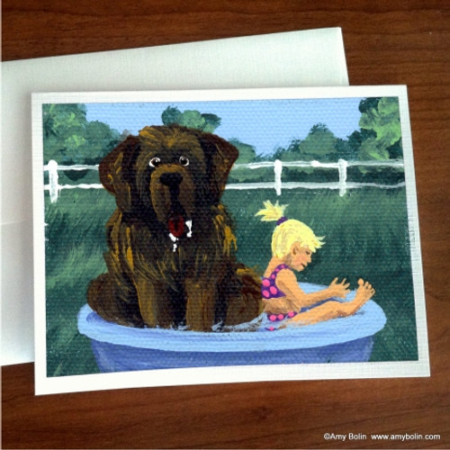 """Bathing Beauties"" Brown Newfoundland Note Cards"