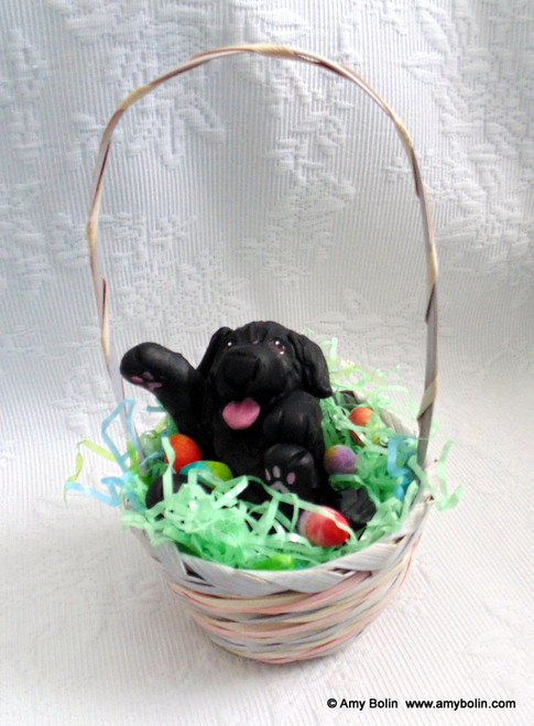 """""""Easter Newf"""" 2"""" by 3¾"""" Sculpture inside a basket with 7"""" handle · Black Newfoundland Dog · Amy Bolin"""