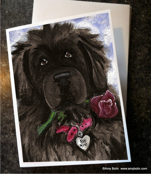 """Valentine's Day: Be Mine"" Black Newfoundland Note Cards"
