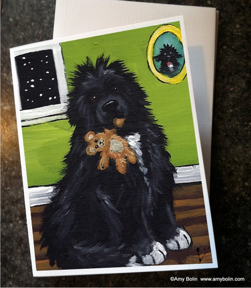 """Bedtime Buddies"" Irish Spotted Newfoundland Note Cards"