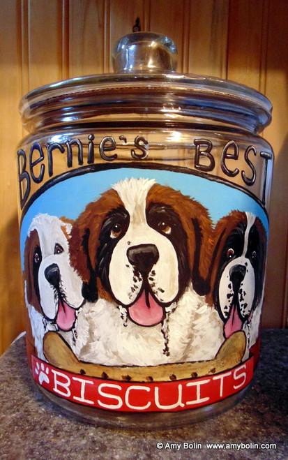 """Bernie's Best Biscuits"" Saint Bernard Dog Original ART Acrylic Painting on a Glass 1 Gallon COOKIE JAR · Amy Bolin"