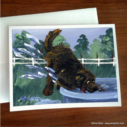 """""""Diggin' It"""" Brown Newfoundland Note Cards"""