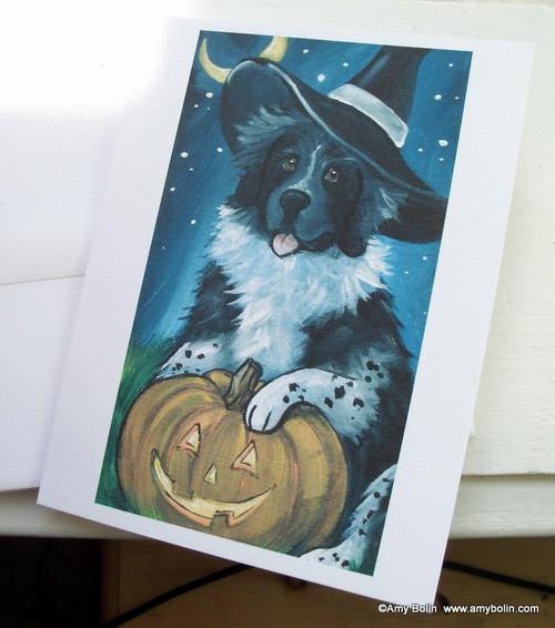 """""""Halloween: Happy Halloween"""" Landseer Newfoundland Note Cards"""