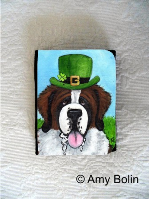 """A Big, Wet Irish Kiss"" Saint Bernard Small Organizer Wallet"