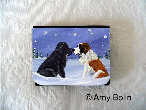 """A Cold, Wet Hello"" Black Newfoundland & Saint Bernard Small Organizer Wallet"