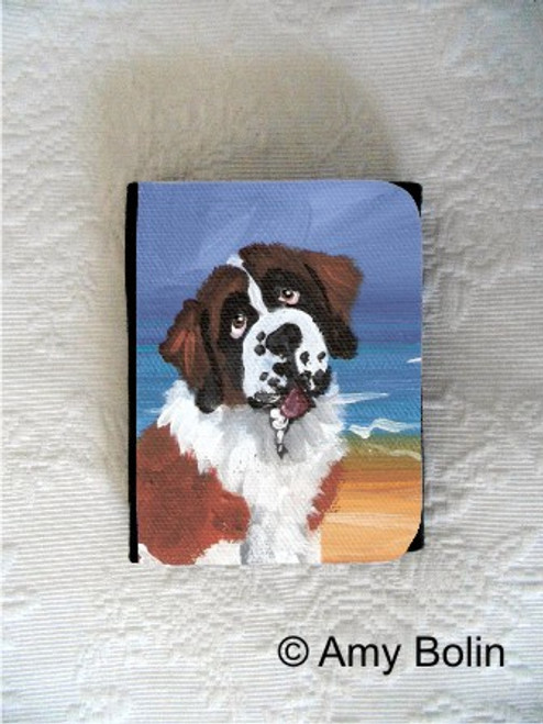 """A Day At The Beach"" Saint Bernard Small Organizer Wallet"